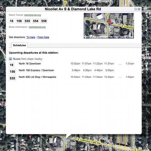 screenshot of google maps showing bus times...