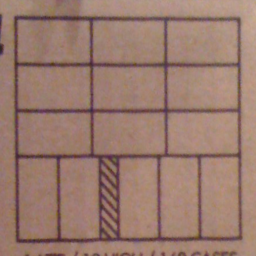 Diagram showing a 3x3 grid of boxes with one row of five boxes oriented perpendicular to that grid